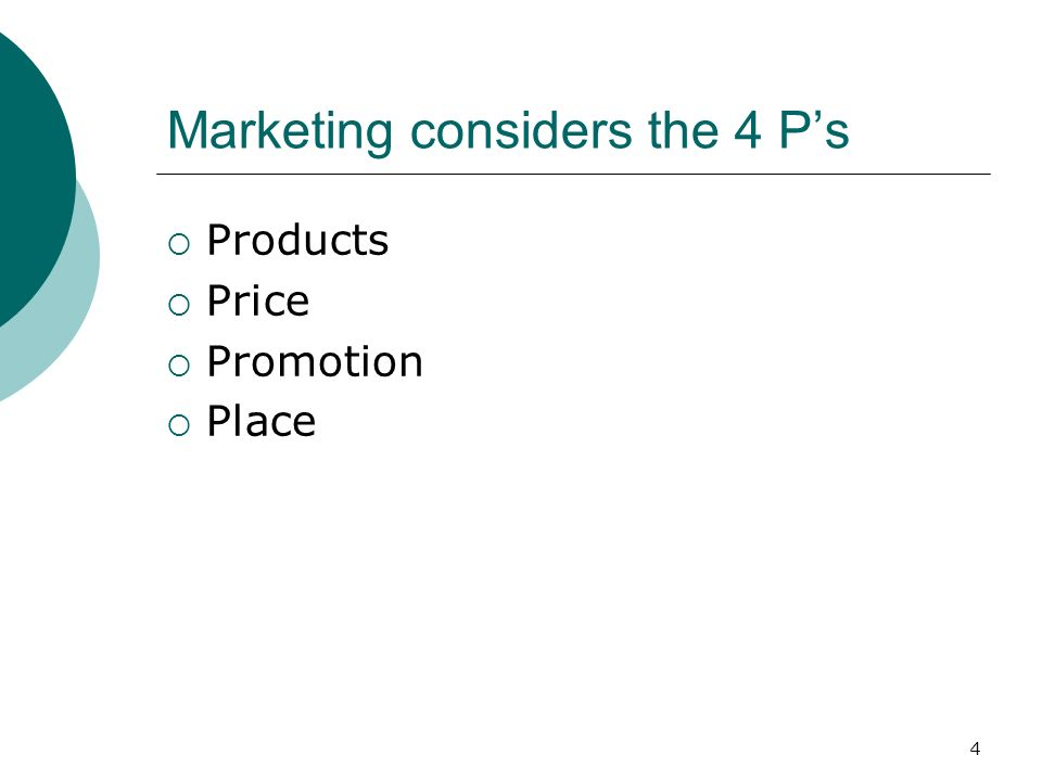 4 Marketing considers the 4 Ps Products Price Promotion Place
