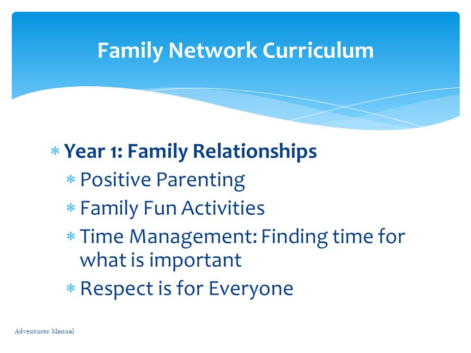 Year 1: Family Relationships Positive Parenting Family Fun Activities Time Management: Finding time for what is important Respect is for Everyone Adve
