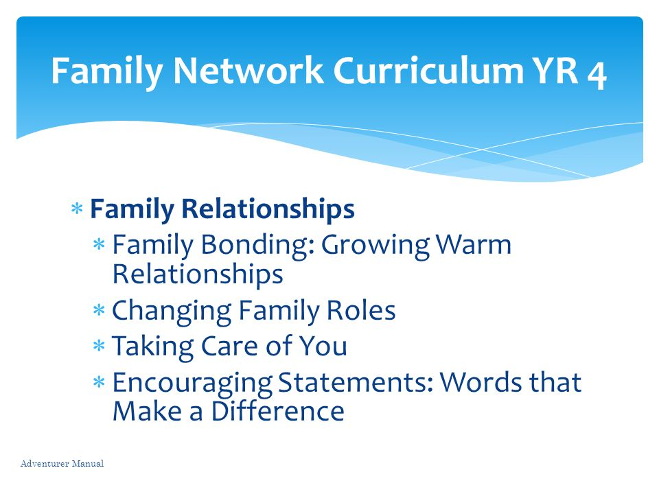 Family Relationships Family Bonding: Growing Warm Relationships Changing Family Roles Taking Care of You Encouraging Statements: Words that Make a Dif