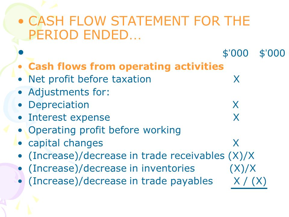 CASH FLOW STATEMENT FOR THE PERIOD ENDED … $ 000 $ 000 Cash flows from operating activities Net profit before taxation X Adjustments for: Depreciation