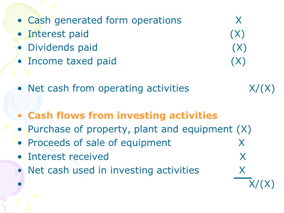 Cash generated form operations X Interest paid (X) Dividends paid (X) Income taxed paid (X) Net cash from operating activities X/(X) Cash flows from i