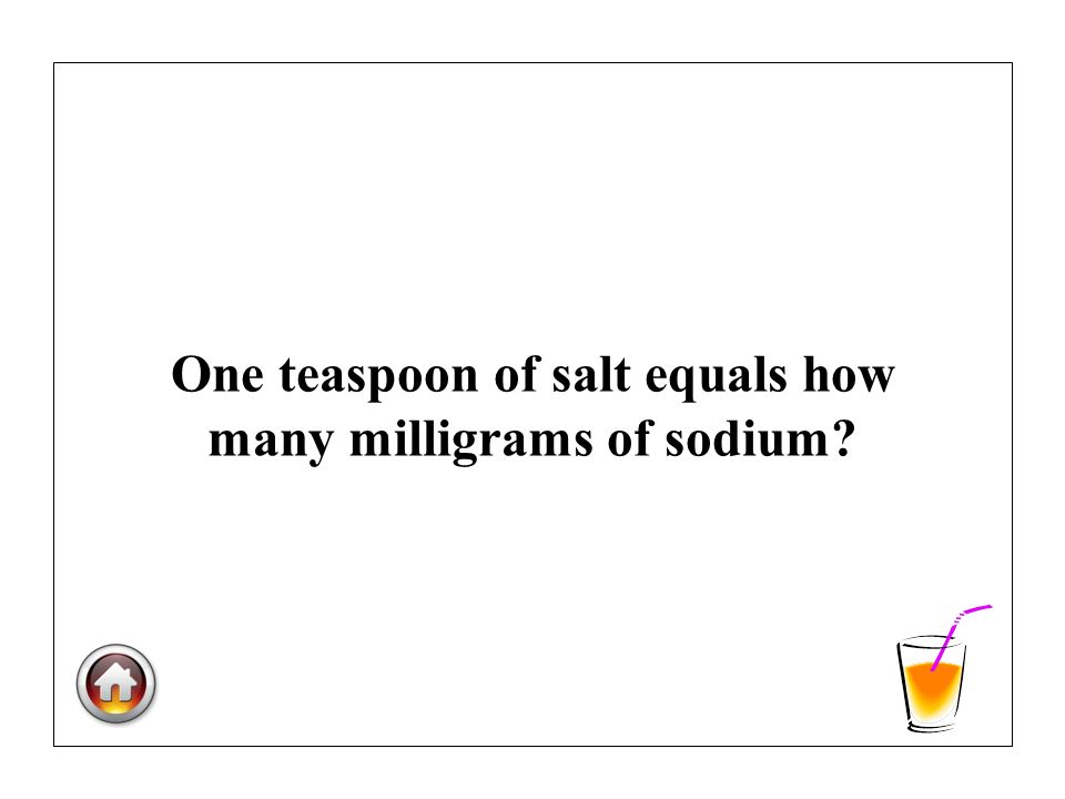 One teaspoon of salt equals how many milligrams of sodium?