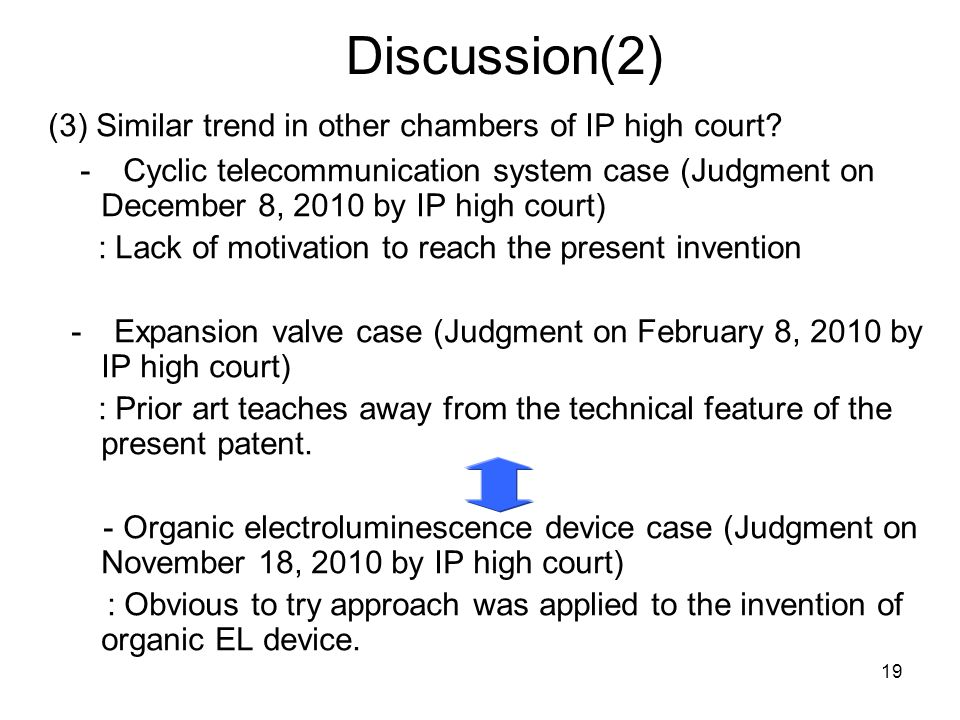 Discussion(2) (3) Similar trend in other chambers of IP high court.