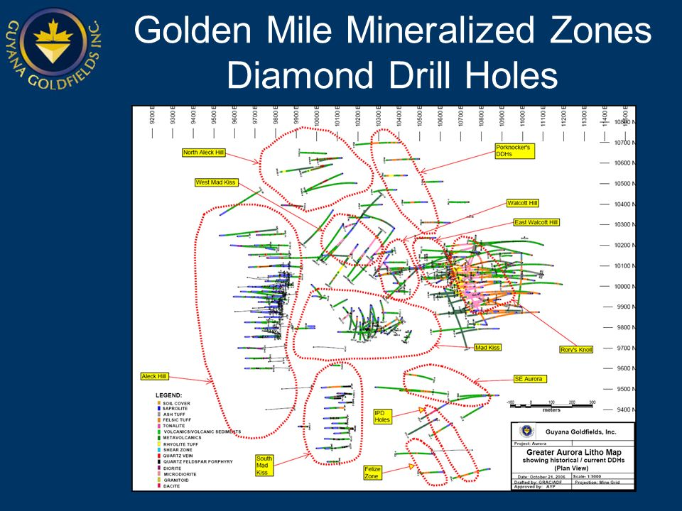 Golden Mile Mineralized Zones Diamond Drill Holes