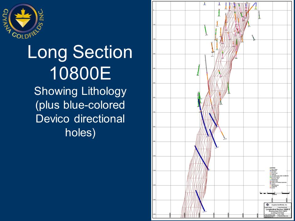 Long Section 10800E Showing Lithology (plus blue-colored Devico directional holes)