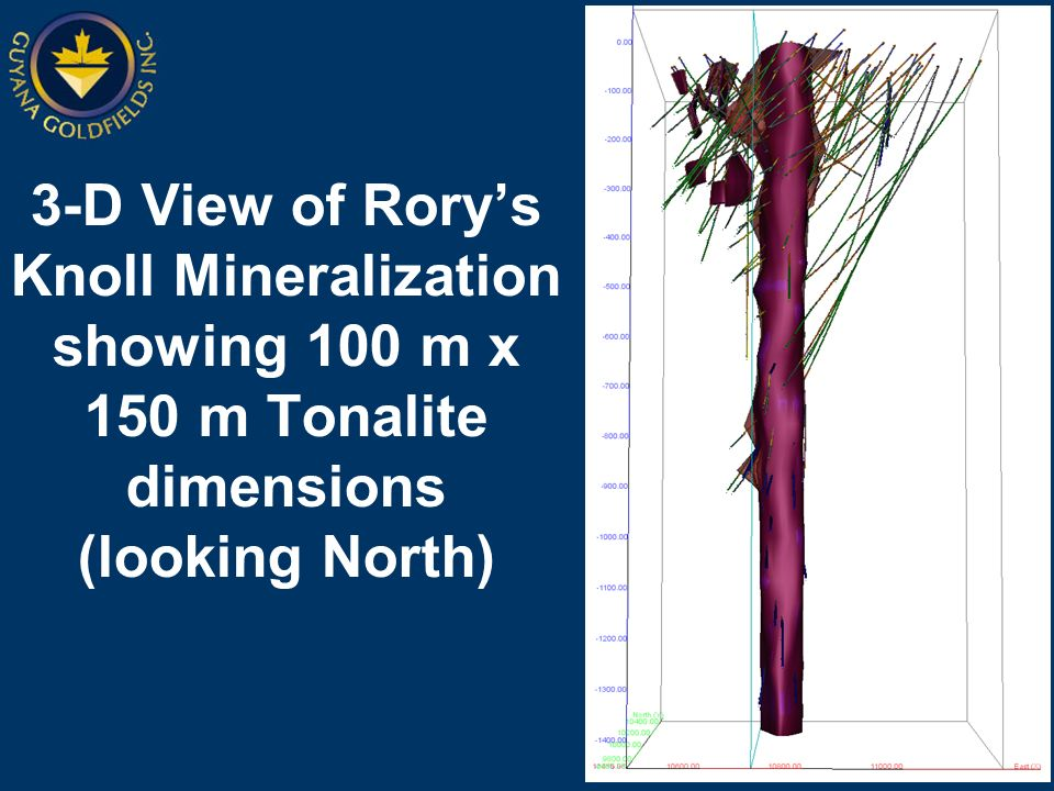 3-D View of Rorys Knoll Mineralization showing 100 m x 150 m Tonalite dimensions (looking North)