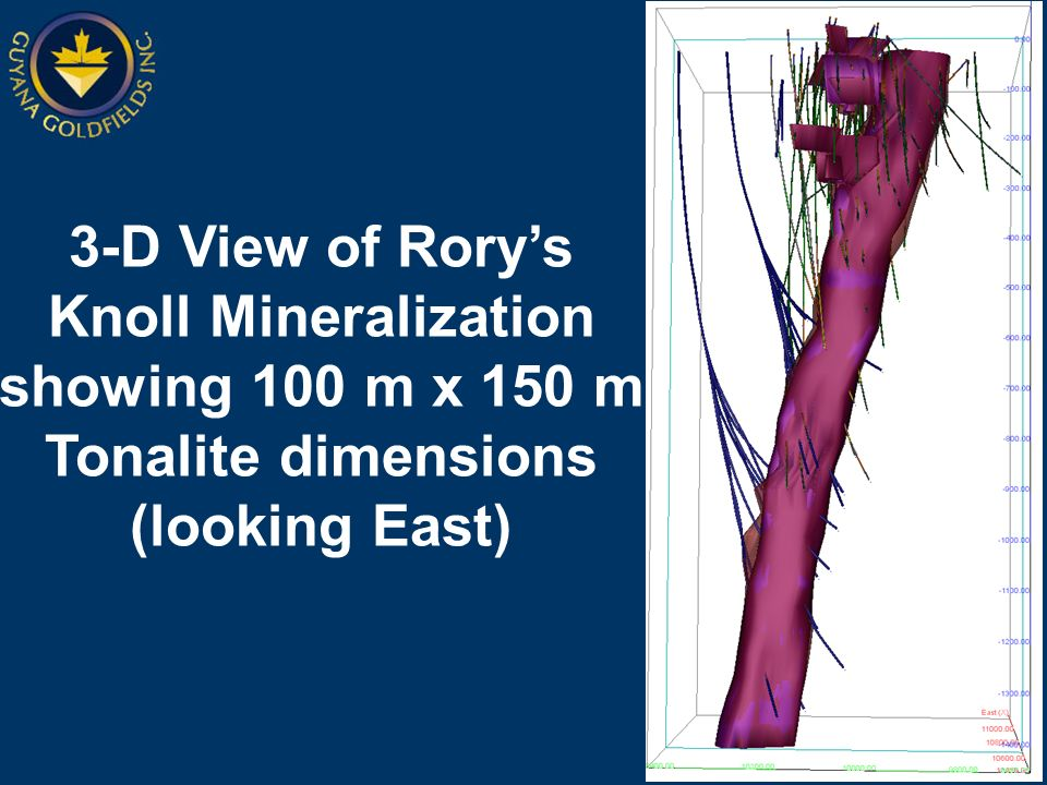3-D View of Rorys Knoll Mineralization showing 100 m x 150 m Tonalite dimensions (looking East)