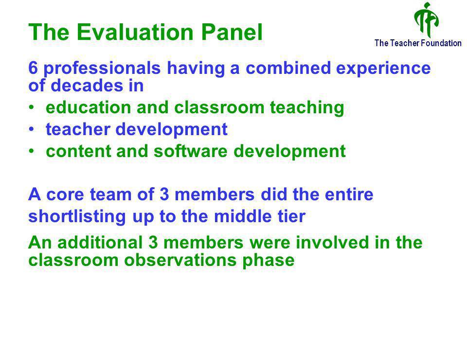 The Teacher Foundation The Base Tier – of the 3-Tier Evaluation Strategy Intels Criteria Documentation 650 Teachers
