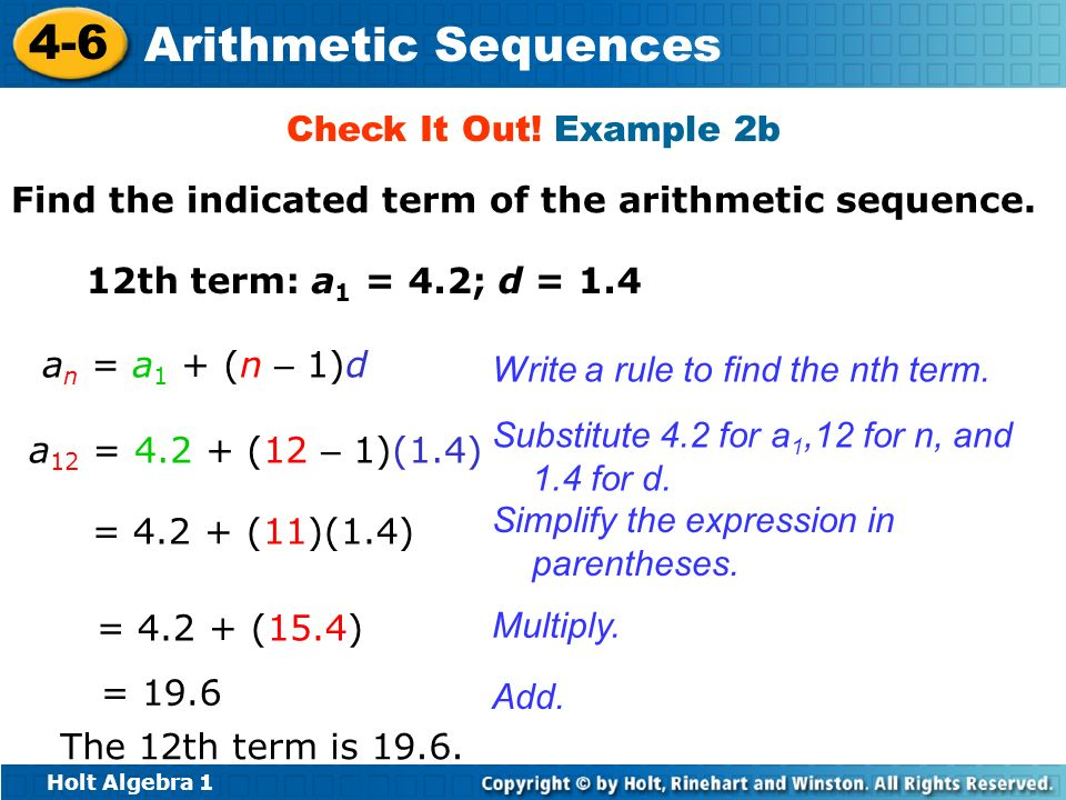 arithmetic sequence