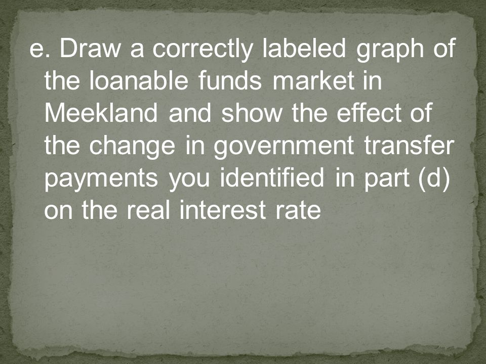 e. Draw a correctly labeled graph of the loanable funds market in Meekland and show the effect of the change in government transfer payments you ident