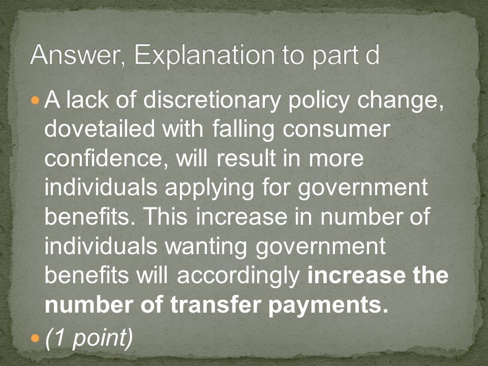 A lack of discretionary policy change, dovetailed with falling consumer confidence, will result in more individuals applying for government benefits.