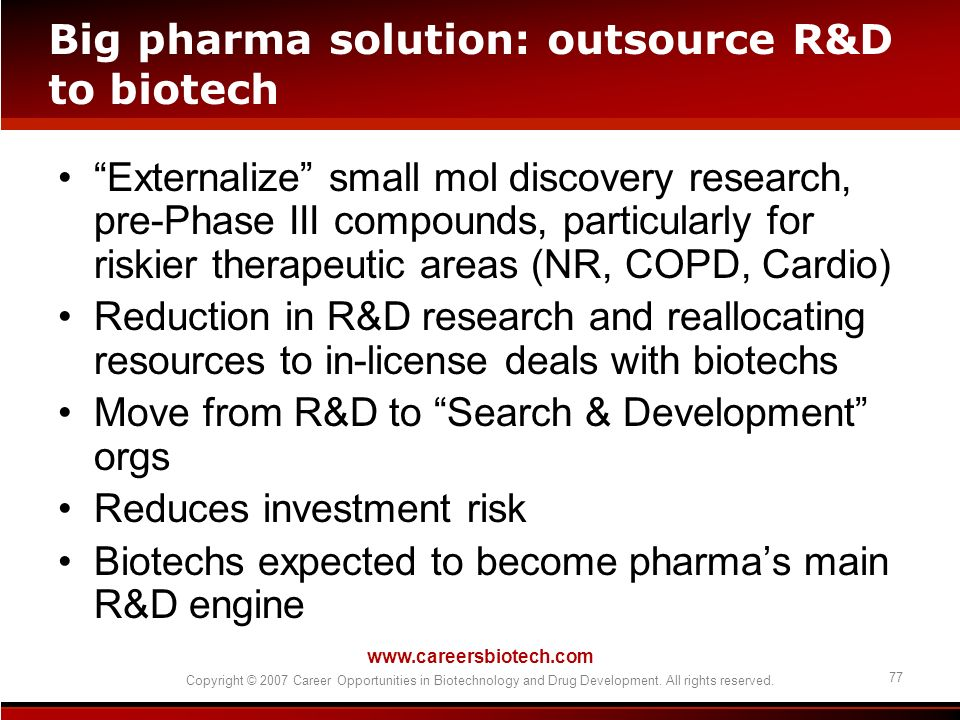 www.careersbiotech.com Copyright © 2007 Career Opportunities in Biotechnology and Drug Development. All rights reserved. 77 Big pharma solution: outso