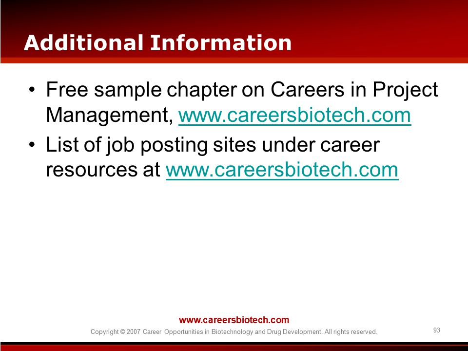 Copyright © 2007 Career Opportunities in Biotechnology and Drug Development. All rights reserved. 93 www.careersbiotech.com Copyright © 2007 Career Op
