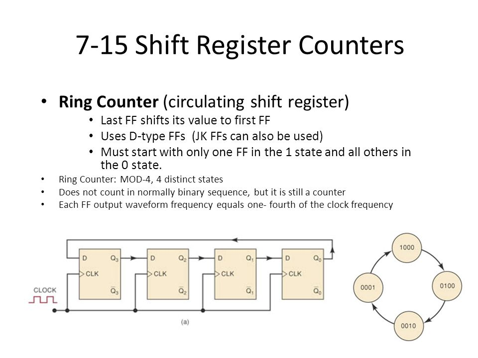 7-15 Shift Register Counters Ring Counter (circulating shift register) Last FF shifts its value to first FF Uses D-type FFs (JK FFs can also be used)