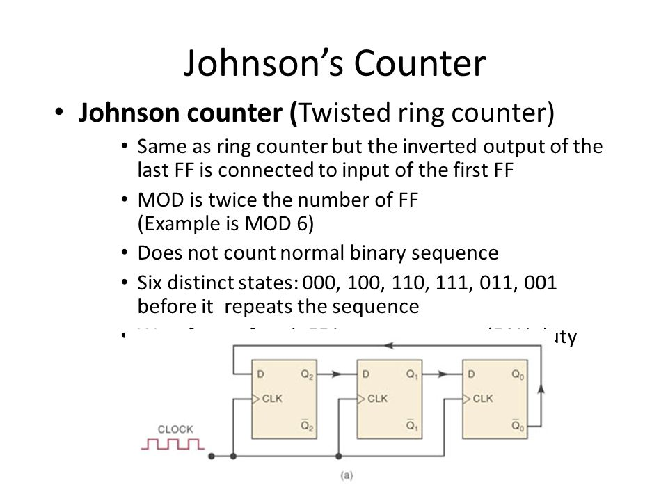 Johnsons Counter Johnson counter (Twisted ring counter) Same as ring counter but the inverted output of the last FF is connected to input of the first