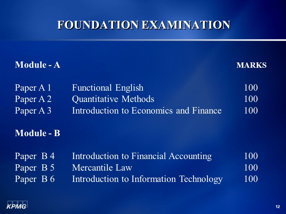 12 FOUNDATION EXAMINATION Module - A MARKS Paper A 1Functional English100 Paper A 2Quantitative Methods100 Paper A 3Introduction to Economics and Fina