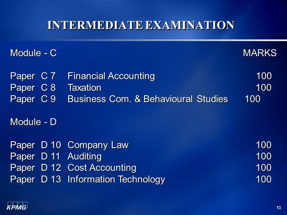 13 INTERMEDIATE EXAMINATION Module - C MARKS Paper C 7Financial Accounting 100 Paper C 8Taxation 100 Paper C 9Business Com. & Behavioural Studies 100