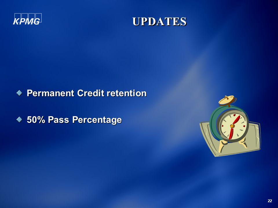 22 Permanent Credit retention 50% Pass Percentage UPDATES UPDATES