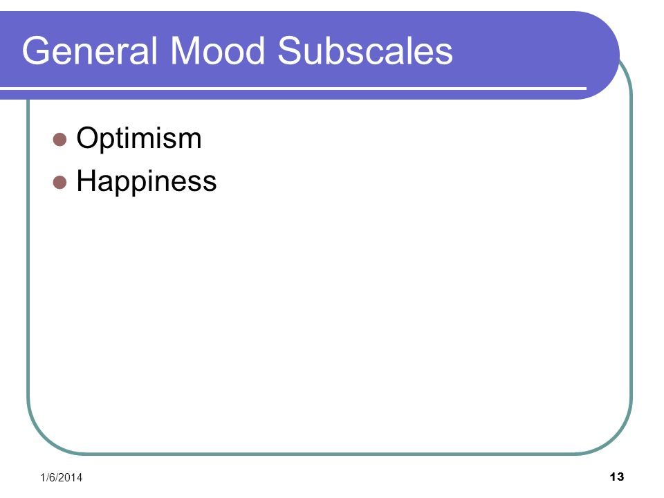 1/6/2014 13 General Mood Subscales Optimism Happiness