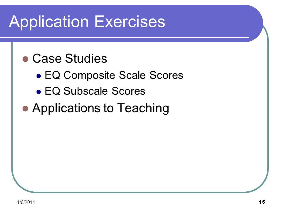 1/6/2014 15 Application Exercises Case Studies EQ Composite Scale Scores EQ Subscale Scores Applications to Teaching