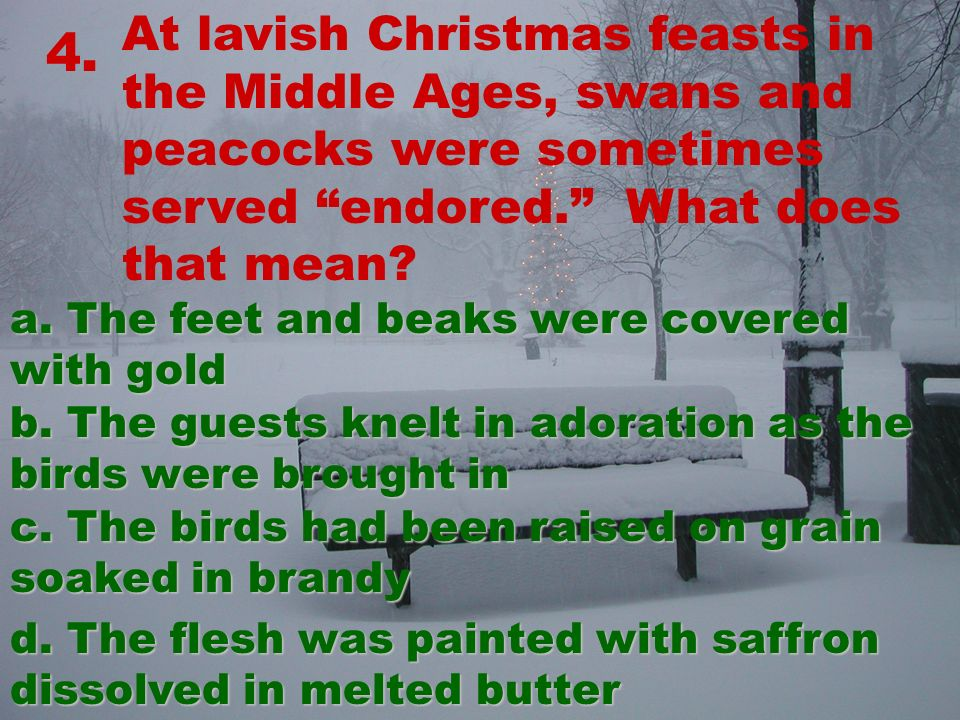 4. At lavish Christmas feasts in the Middle Ages, swans and peacocks were sometimes served endored.