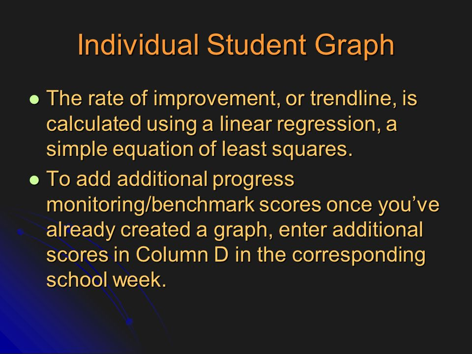 Individual Student Graph The rate of improvement, or trendline, is calculated using a linear regression, a simple equation of least squares. The rate