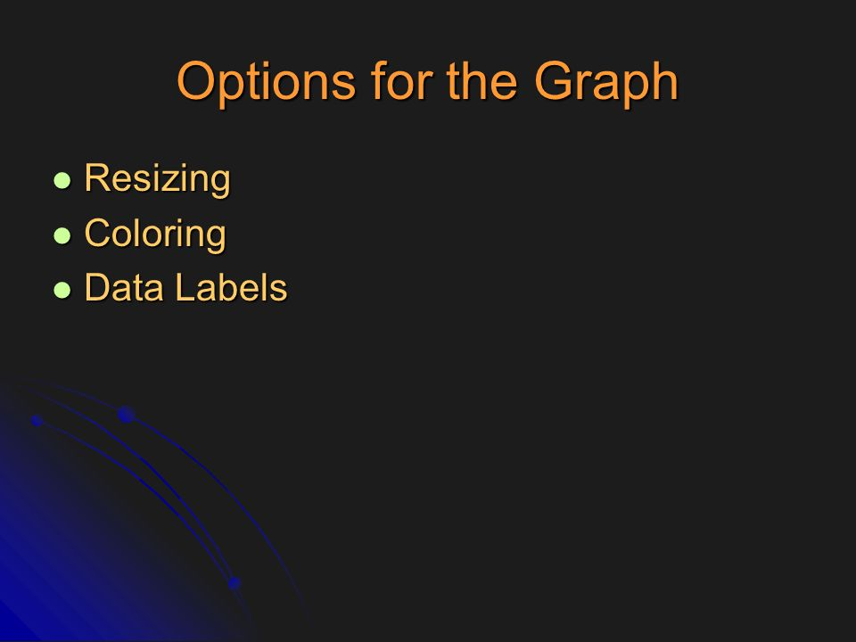 Options for the Graph Resizing Resizing Coloring Coloring Data Labels Data Labels
