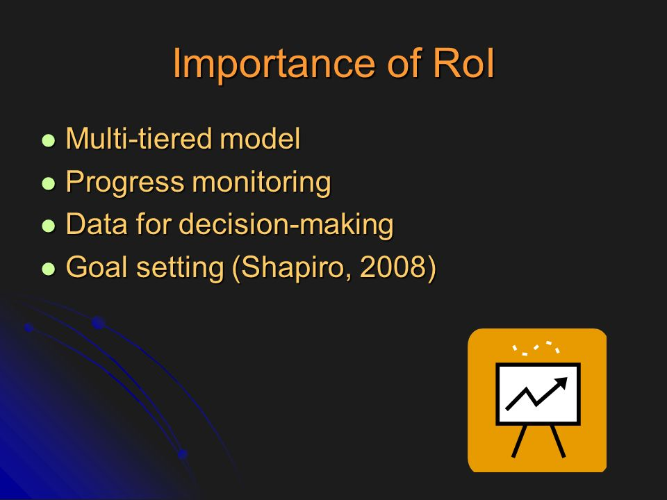 RoI Research Questions yet to be empirically answered Questions yet to be empirically answered What parameters of RoI indicate a lack of RtI.