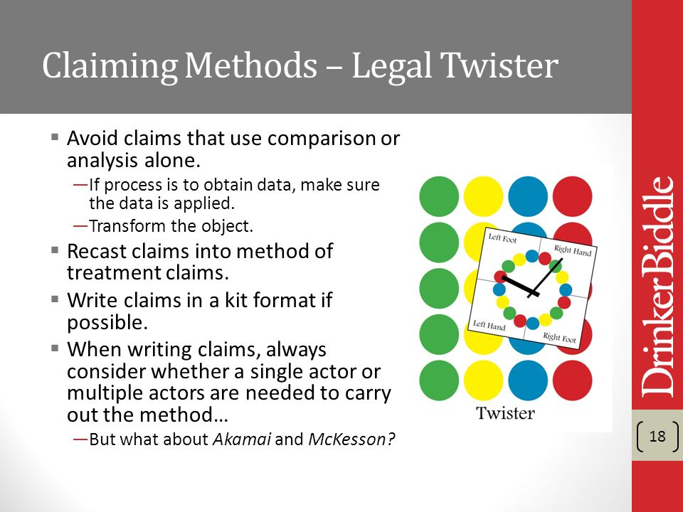 Claiming Methods – Legal Twister Avoid claims that use comparison or analysis alone.