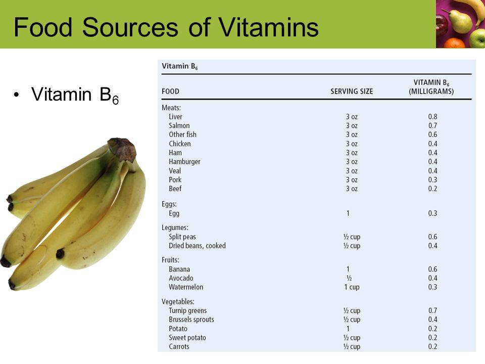 Food Sources of Vitamins Vitamin B 6