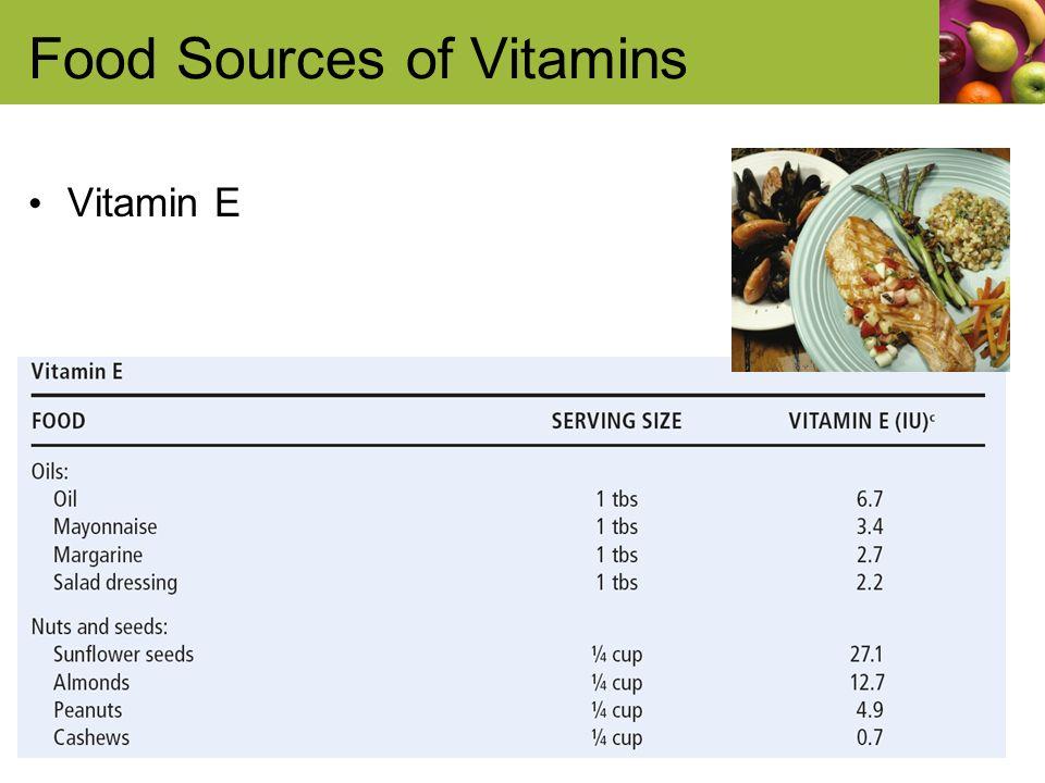 Food Sources of Vitamins Vitamin E