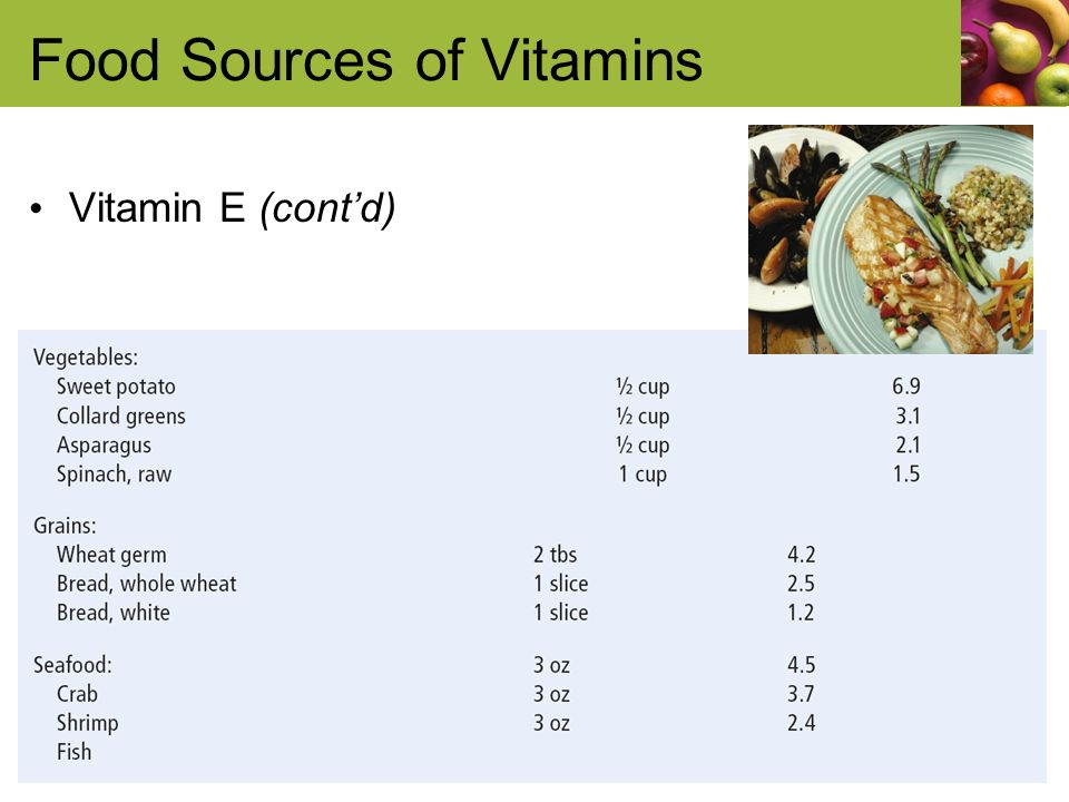 Food Sources of Vitamins Vitamin E (contd)