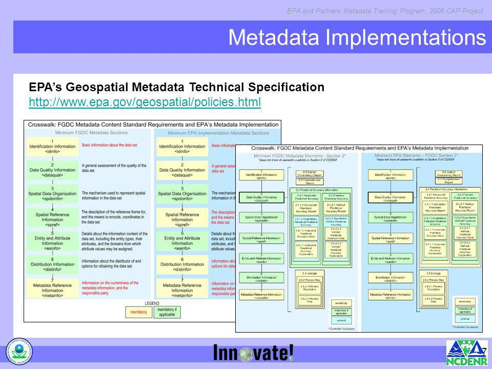 EPA and Partners Metadata Training Program: 2008 CAP Project 7 Metadata Implementations EPAs Geospatial Metadata Technical Specification http://www.ep