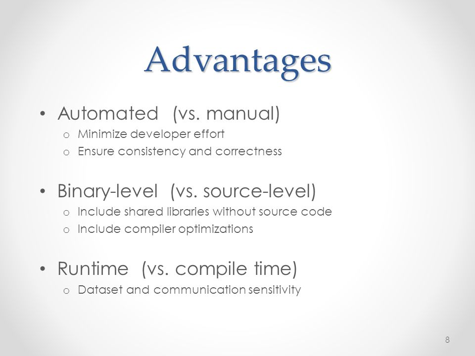 Advantages Automated (vs.