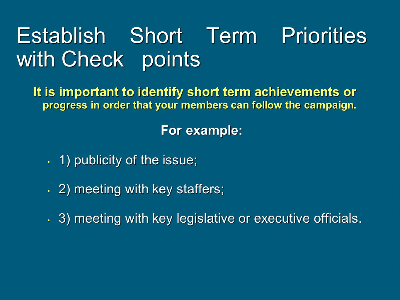 Establish Short Term Priorities with Check points 1) publicity of the issue; 1) publicity of the issue; 2) meeting with key staffers; 2) meeting with