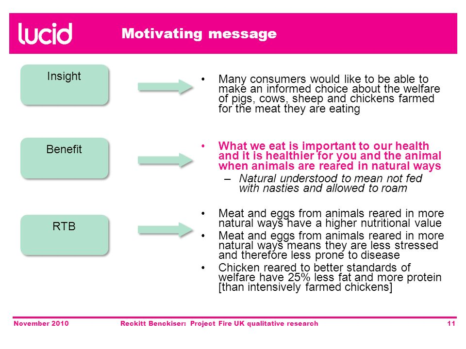 November 2010Reckitt Benckiser: Project Fire UK qualitative research11 Motivating message Many consumers would like to be able to make an informed choice about the welfare of pigs, cows, sheep and chickens farmed for the meat they are eating What we eat is important to our health and it is healthier for you and the animal when animals are reared in natural ways – Natural understood to mean not fed with nasties and allowed to roam Meat and eggs from animals reared in more natural ways have a higher nutritional value Meat and eggs from animals reared in more natural ways means they are less stressed and therefore less prone to disease Chicken reared to better standards of welfare have 25% less fat and more protein [than intensively farmed chickens] Insight Benefit RTB