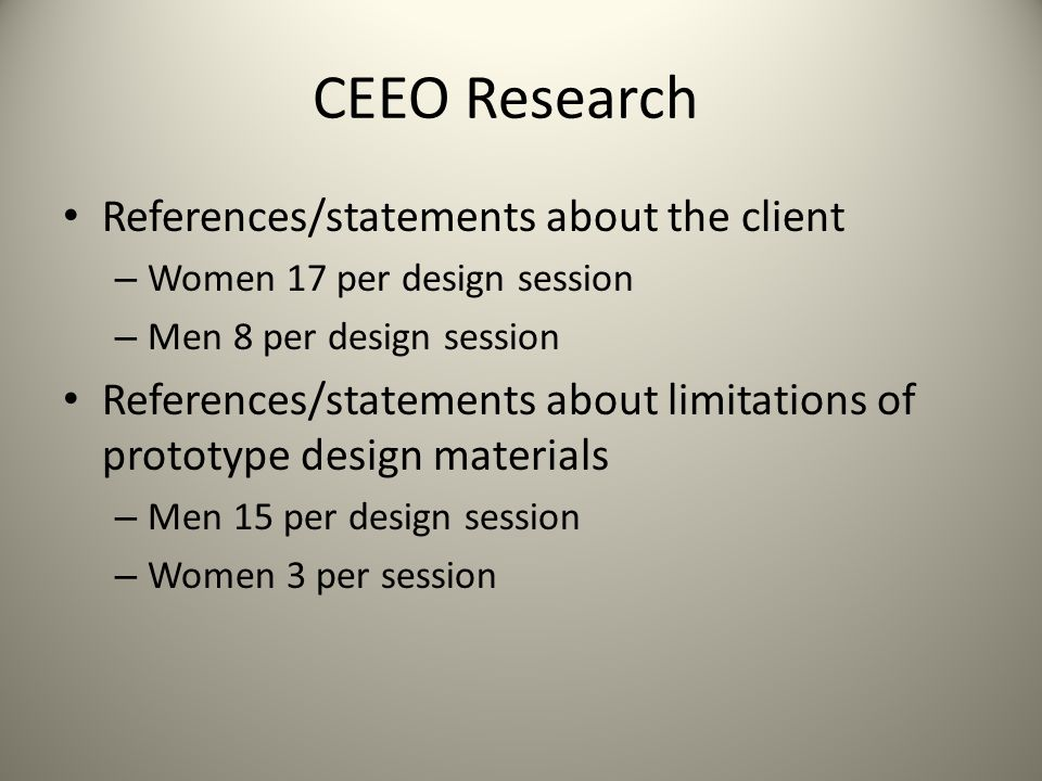 CEEO Research References/statements about the client – Women 17 per design session – Men 8 per design session References/statements about limitations of prototype design materials – Men 15 per design session – Women 3 per session
