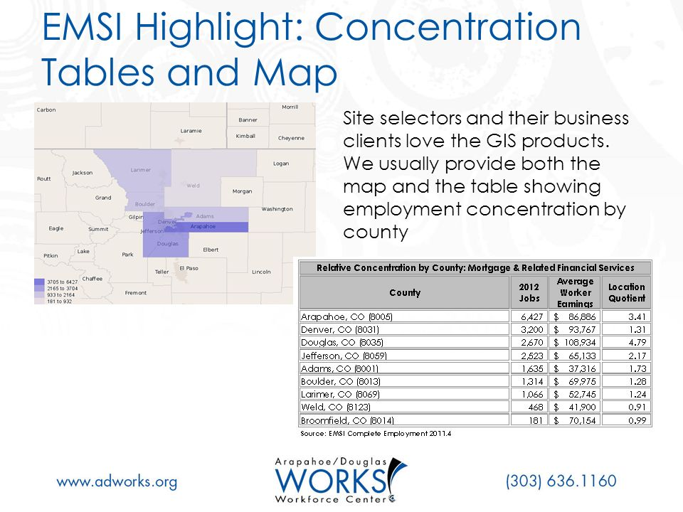 EMSI Highlight: Concentration Tables and Map Site selectors and their business clients love the GIS products.
