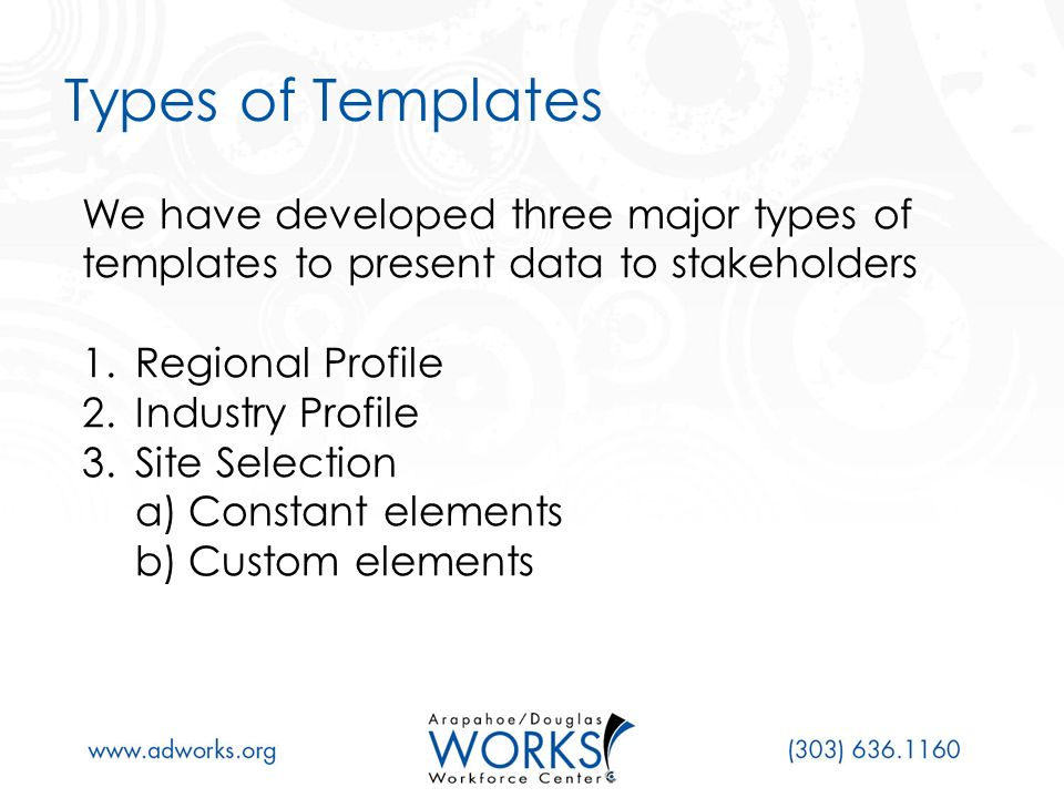 Regional Profiles How it is used Elements Geography People Demographics Race Hispanic Origin Age Workforce Educational Attainment Occupational Makeup Economy The audience for geographic profiles includes: 1.Workforce Boards 2.Local Governments 3.Economic Developers 4.Business/Industry Leaders 5.Business Associations The audience for geographic profiles includes: 1.Workforce Boards 2.Local Governments 3.Economic Developers 4.Business/Industry Leaders 5.Business Associations