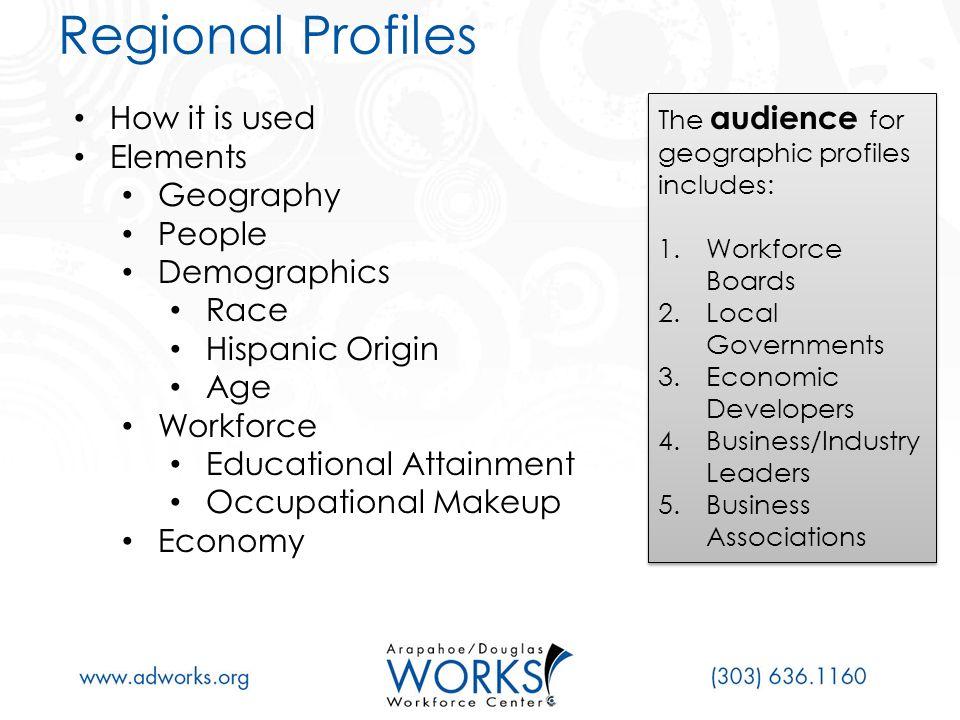 Regional Profile: Data Elements & Sources
