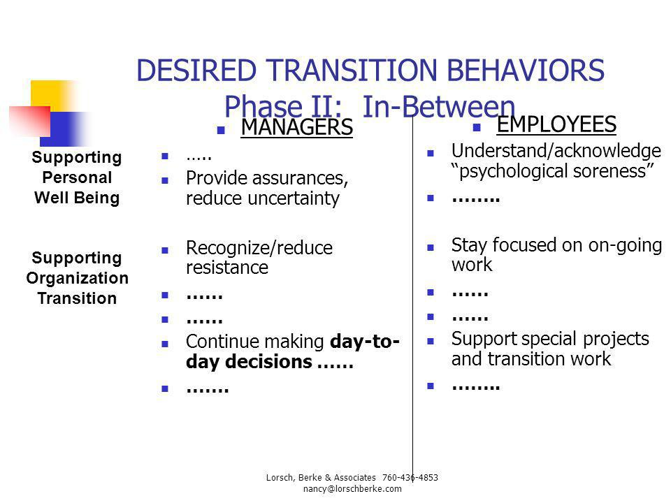 DESIRED TRANSITION BEHAVIORS Phase II: In-Between MANAGERS ….. Provide assurances, reduce uncertainty Recognize/reduce resistance …… Continue making d