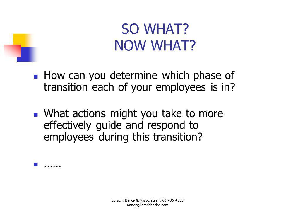 SO WHAT? NOW WHAT? How can you determine which phase of transition each of your employees is in? What actions might you take to more effectively guide