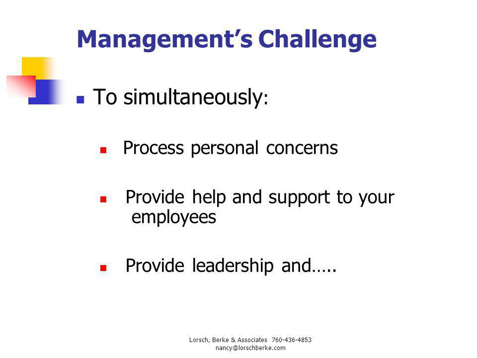 Response To The Challenge: Leading Transition Support Desirable leadership behaviors during successful transitions focus on both: task issues people issues Lorsch, Berke & Associates 760-436-4853 nancy@lorschberke.com