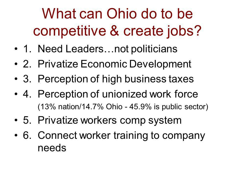 What can Ohio do to be competitive & create jobs.