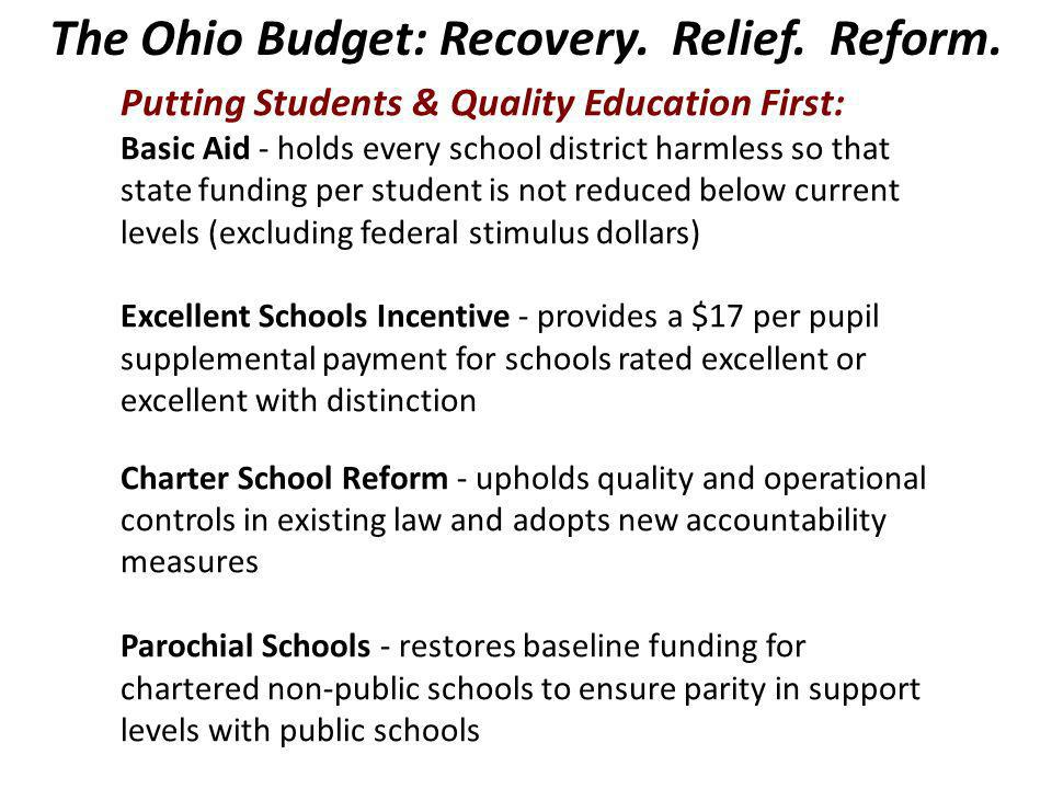 The Ohio Budget: Recovery. Relief. Reform.