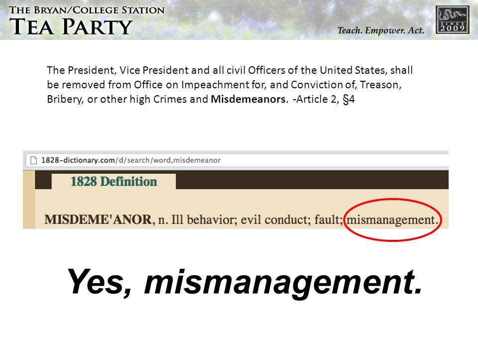 Yes, mismanagement.