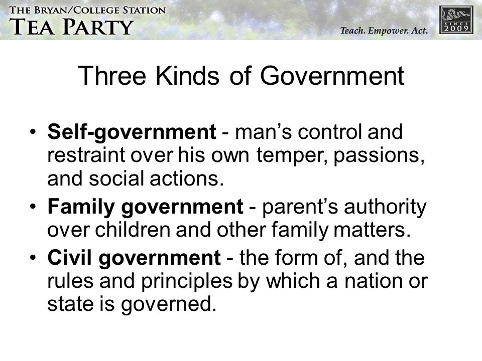 Three Kinds of Government Self-government - mans control and restraint over his own temper, passions, and social actions.