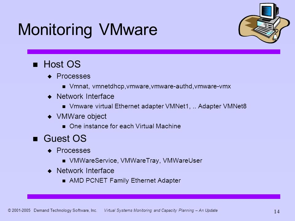 © 2001-2005 Demand Technology Software, Inc.Virtual Systems Monitoring and Capacity Planning – An Update 14 Monitoring VMware Host OS Processes Vmnat, vmnetdhcp,vmware,vmware-authd,vmware-vmx Network Interface Vmware virtual Ethernet adapter VMNet1,..