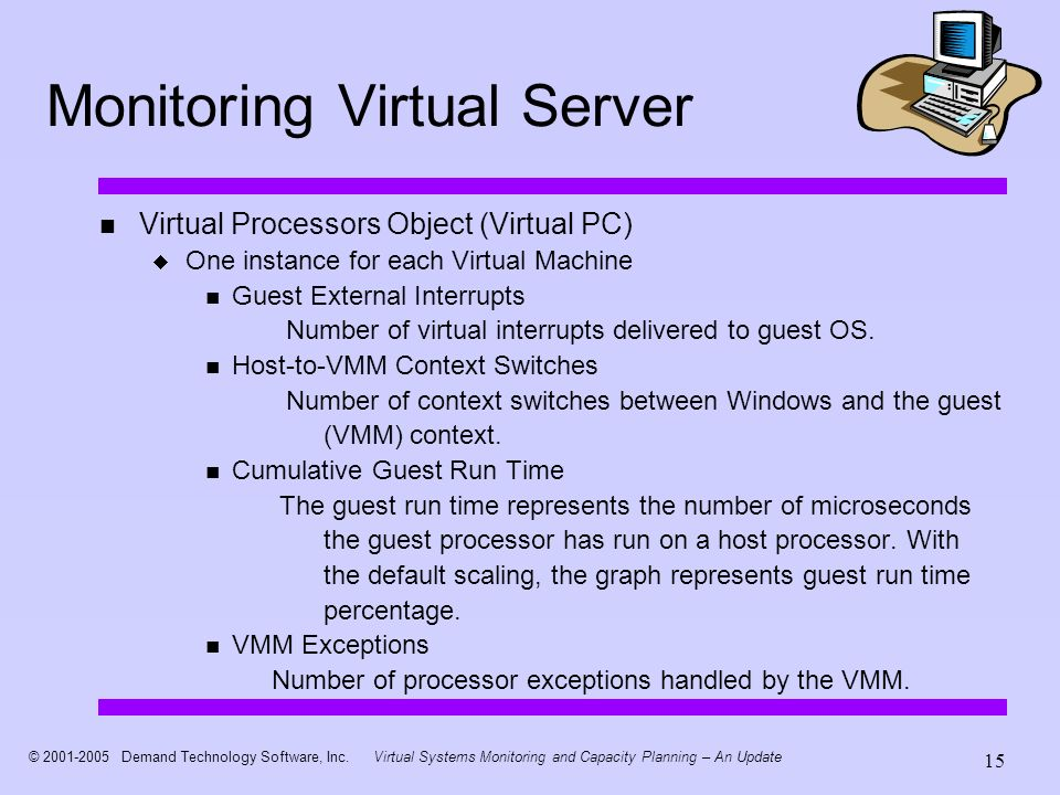 © 2001-2005 Demand Technology Software, Inc.Virtual Systems Monitoring and Capacity Planning – An Update 15 Monitoring Virtual Server Virtual Processo