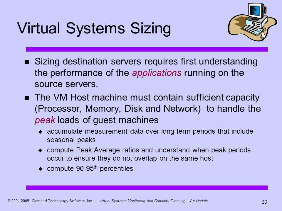 © 2001-2005 Demand Technology Software, Inc.Virtual Systems Monitoring and Capacity Planning – An Update 23 Virtual Systems Sizing Sizing destination servers requires first understanding the performance of the applications running on the source servers.